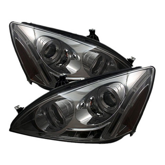 2003-2007 Honda Accord Smoke Housing LED Halo Angel Eyes LED Projector Headlights with Amber Reflector
