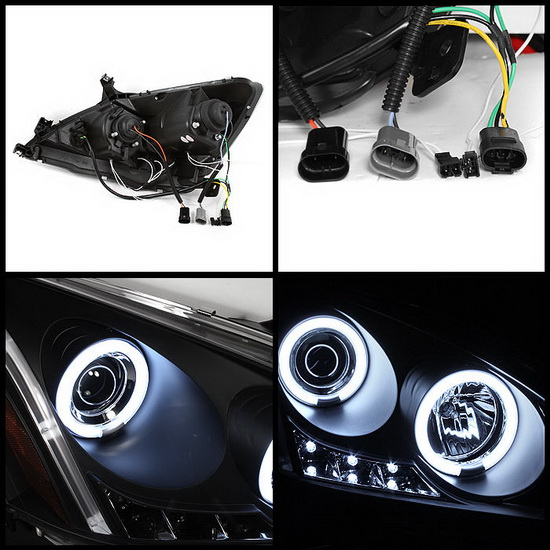 2003-2007 Honda Accord Black Housing CCFL Halo Angel Eyes LED Projector Headlights