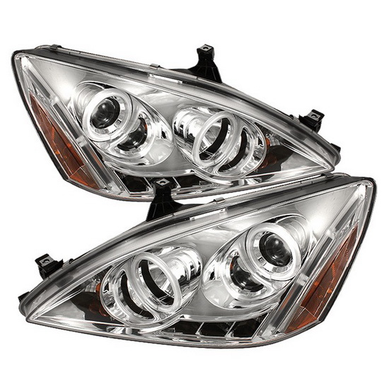 2003-2007 Honda Accord Chrome Housing CCFL Halo Angel Eyes LED Projector Headlights