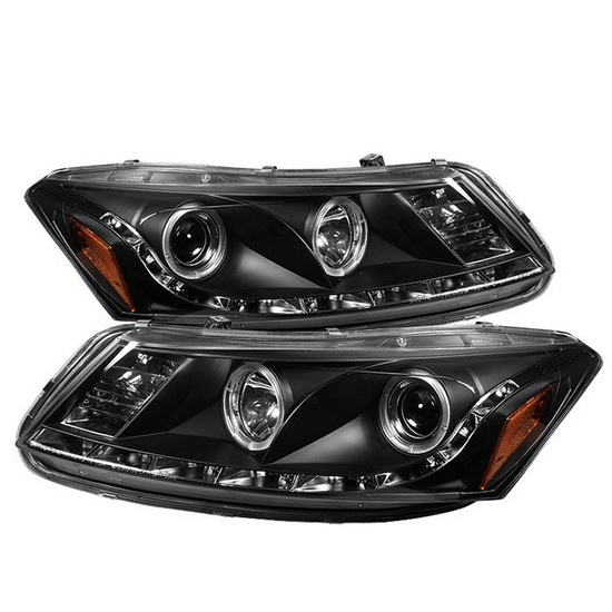 2008-2012 Honda Accord Black Housing LED Halo Angel Eyes Projector Headlights with LED DRL