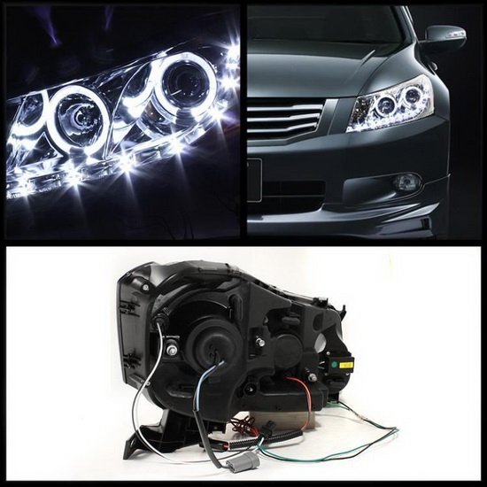 2008-2012 Honda Accord Chrome Housing LED Halo Angel Eyes Projector Headlights with LED DRL