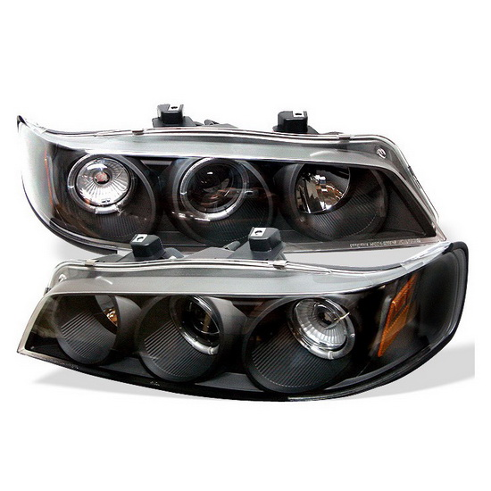 1994-1997 Honda Accord Black Housing LED Halo Angel Eyes Projector Headlights with Amber Reflector