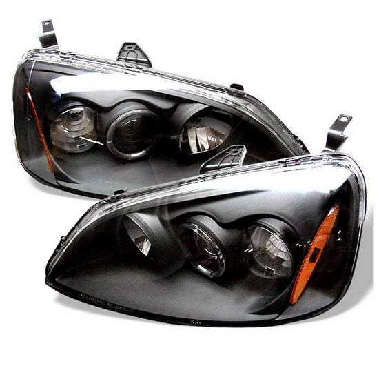 2001-2003 Honda Civic Black Housing LED Halo Angel Eyes Projector Headlights with Amber Reflector