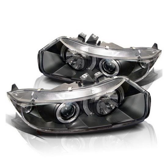 2006-2008 Honda Civic Black Housing LED Halo Angel Eyes Projector Headlights