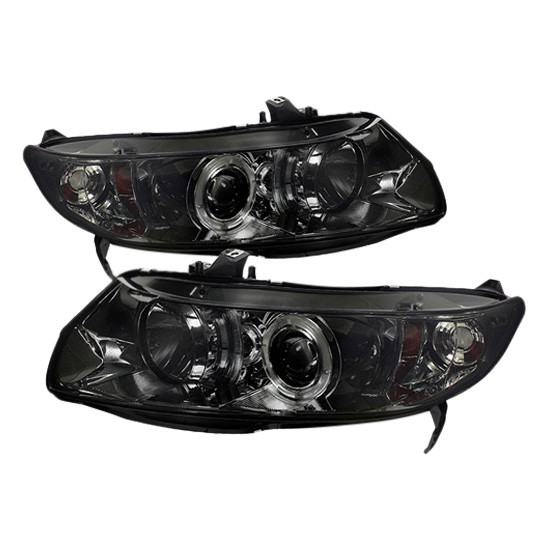 2006-2008 Honda Civic Smoke Housing LED Halo Angel Eyes Projector Headlights