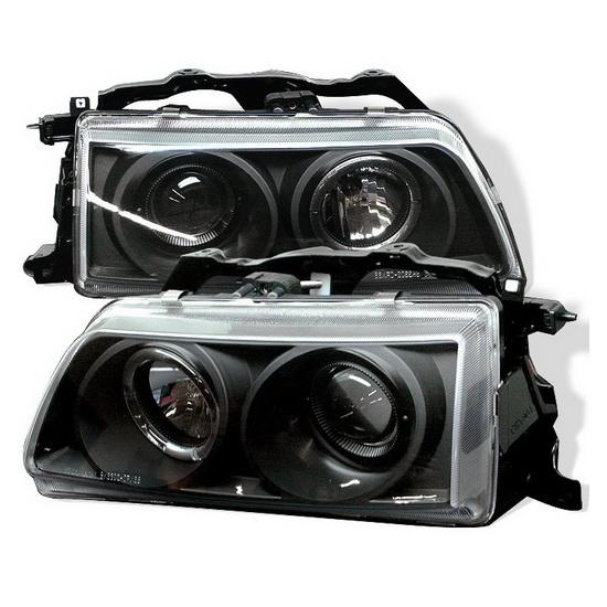 1990-1991 Honda Civic CRX Black Housing LED Halo Angel Eyes Projector Headlights