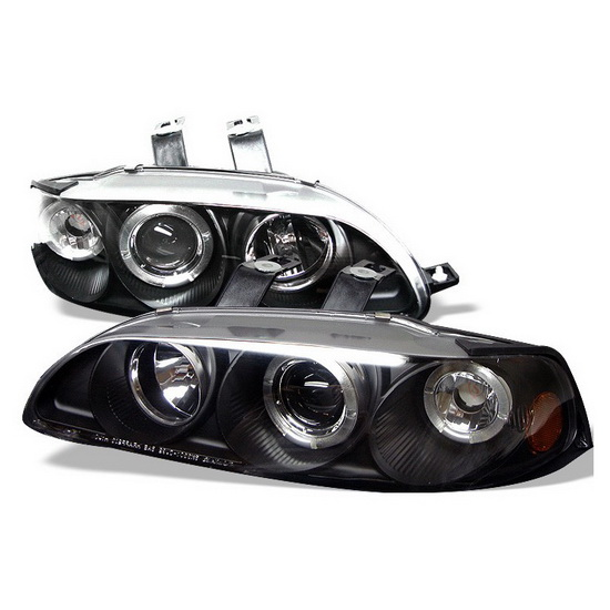 1992-1995 Honda Civic Black Housing LED Halo Angel Eyes 1PC Projector Headlights with Amber Reflector