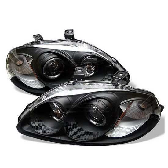 1996-1998 Honda Civic Black Housing LED Halo Angel Eyes Projector Headlights with Amber Reflector