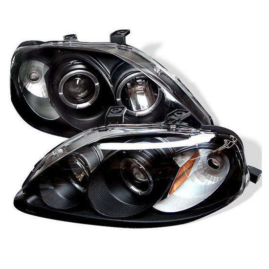 1999 00 honda civic black led halo projector headlights. Black Bedroom Furniture Sets. Home Design Ideas