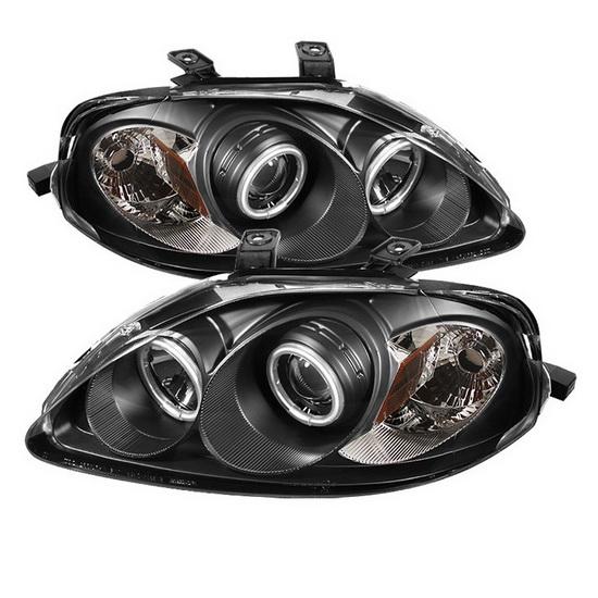 1999-2000 Honda Civic Black Housing CCFL Halo Angel Eyes Projector Headlights