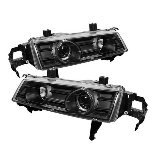 1992-1996 Honda Prelude Black Housing LED Halo Angel Eyes Projector Headlights