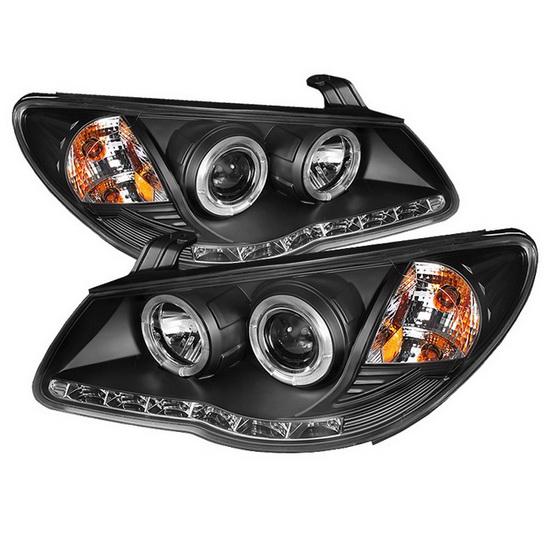 2007-2010 Hyundai Elantra Black Housing LED Halo Angel Eyes Projector Headlights with LED DRL