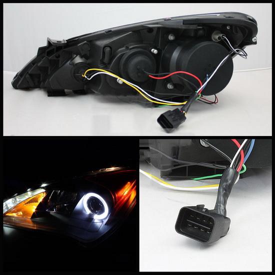 2010 12 Hyundai Genesis Black Led Halo Projector Headlights