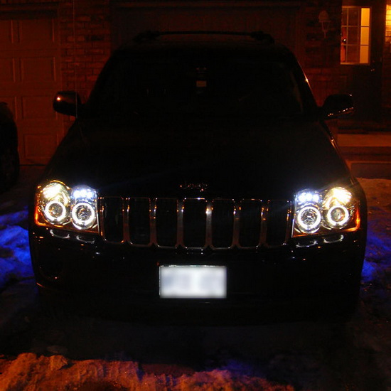 2005 07 Jeep Grand Cherokee Black LED Halo Projector