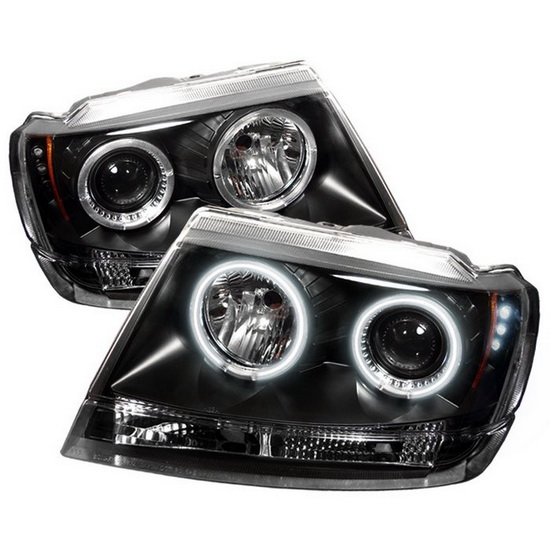 1999-2004 Jeep Grand Cherokee Black Housing CCFL Halo Angel Eyes LED Projector Headlights
