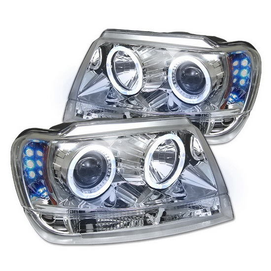 1999-2004 Jeep Grand Cherokee Chrome Housing LED Halo Angel Eyes LED Projector Headlights