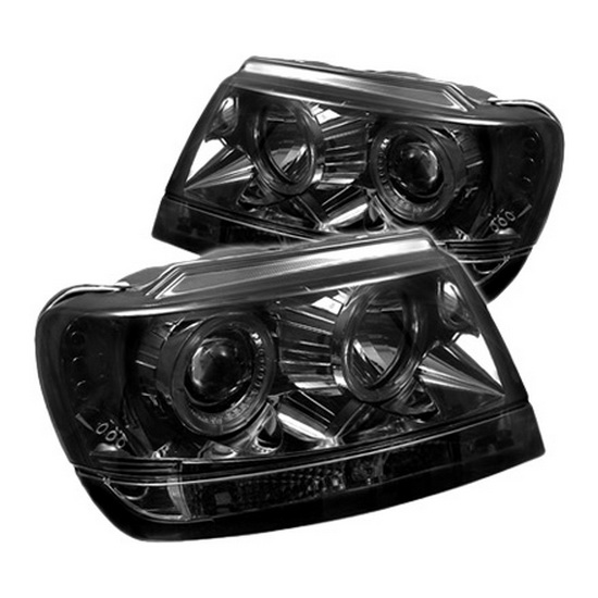1999-2004 Jeep Grand Cherokee Smoke Housing LED Halo Angel Eyes LED Projector Headlights