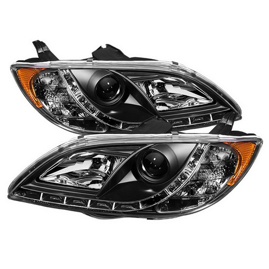 2004-2008 Mazda 3 Black Housing Projector Headlights with LED DRL