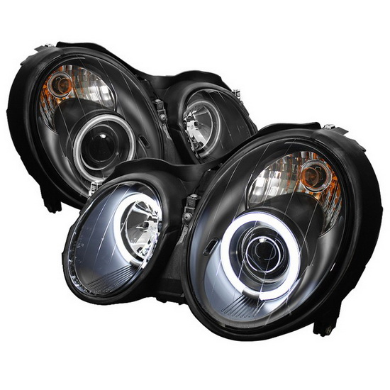 1998-2002 Mercedes Benz CLK Black Housing CCFL Halo Angel Eyes Projector Headlights