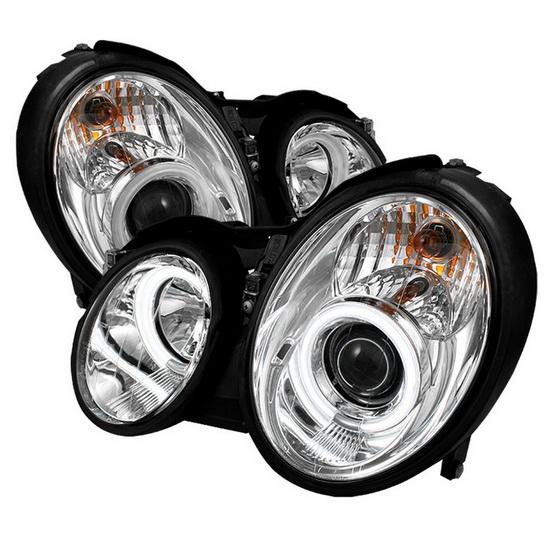 1998-2002 Mercedes Benz CLK Chrome Housing CCFL Halo Angel Eyes Projector Headlights