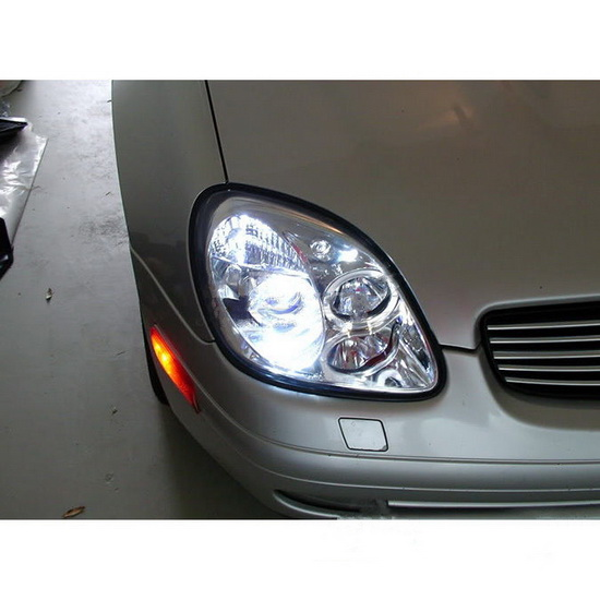 1998-2004 Mercedes Benz SLK Chrome Housing LED Halo Angel Eyes 1PC Projector Headlights