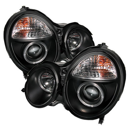 2000-2002 Mercedes Benz E-Class Black Housing LED Halo Angel Eyes Projector Headlights