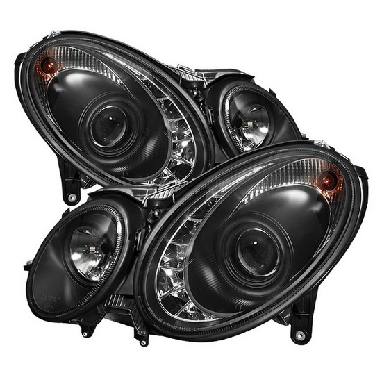 2003-2006 Mercedes Benz E-Class Black Housing Projector Headlights with LED DRL