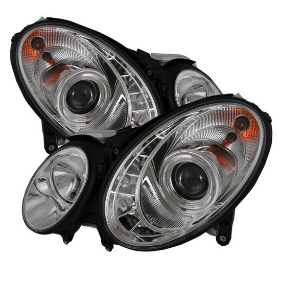 2003-2006 Mercedes Benz E-Class Chrome Housing Projector Headlights with LED DRL