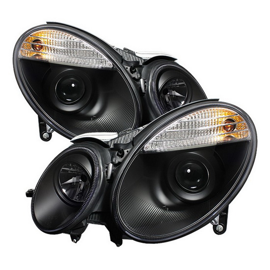 2007-2009 Mercedes Benz E-Class Black Housing Projector Headlights