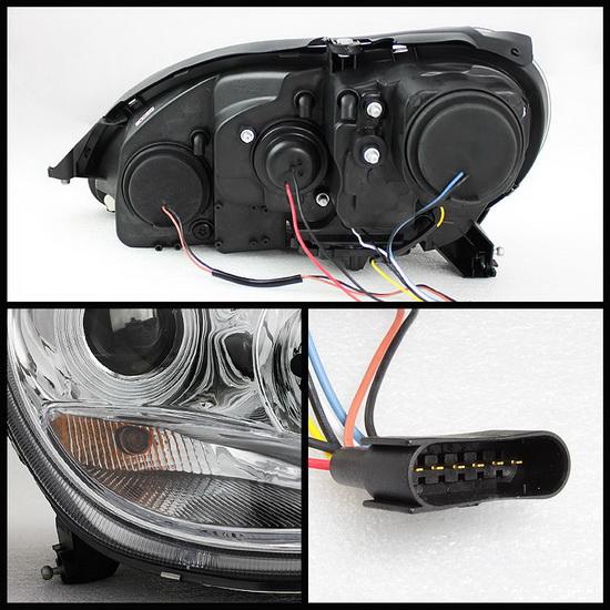 2000-2006 Mercedes Benz S-Class Chrome Housing Projector Headlights