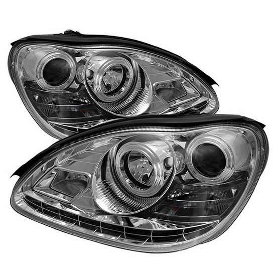 2000-2006 Mercedes Benz S-Class Chrome Housing Projector Headlights with LED DRL