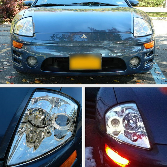 2000-2005 Mitsubishi Eclipse Chrome Housing LED Halo Angel Eyes Projector Headlights