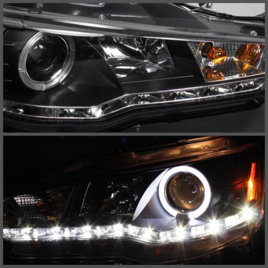 2008-2013 Mitsubishi Lancer EVO Black Housing LED Halo Angel Eyes Projector Headlights with LED DRL