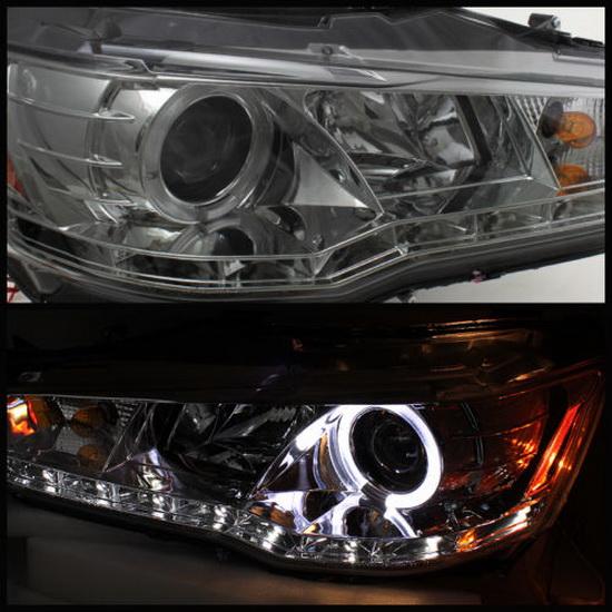 2008-2013 Mitsubishi Lancer EVO Smoke Housing LED Halo Angel Eyes Projector Headlights with LED DRL