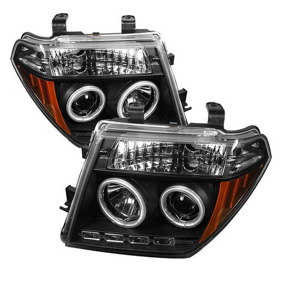 2005-2008 Nissan Frontier Pathfinder Black Housing CCFL Halo Angel Eyes LED Projector Headlights