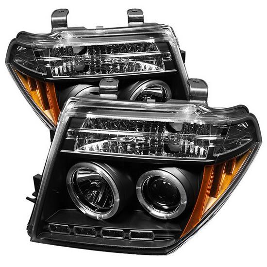 Nissan Pathfinder Aftermarket Parts >> 2005-08 Nissan Frontier Black LED Halo Projector Headlights