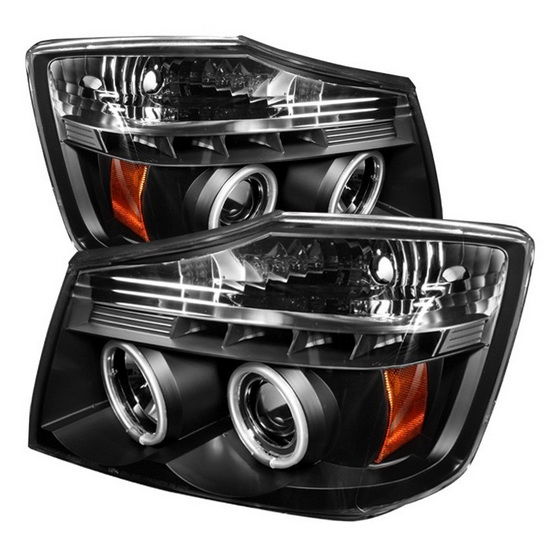 2004-2014 Nissan Titan Armada Black Housing CCFL Halo Angel Eyes LED Projector Headlights