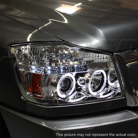 2004-2014 Nissan Titan Armada Smoke Housing LED Halo Angel Eyes LED Projector Headlights