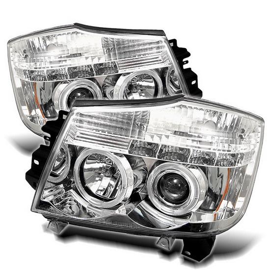 2004-2014 Nissan Titan Armada Chrome Housing LED Halo Angel Eyes LED Projector Headlights
