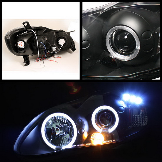 2003-2008 Toyota Corolla Black Housing LED Halo Angel Eyes LED Projector Headlights