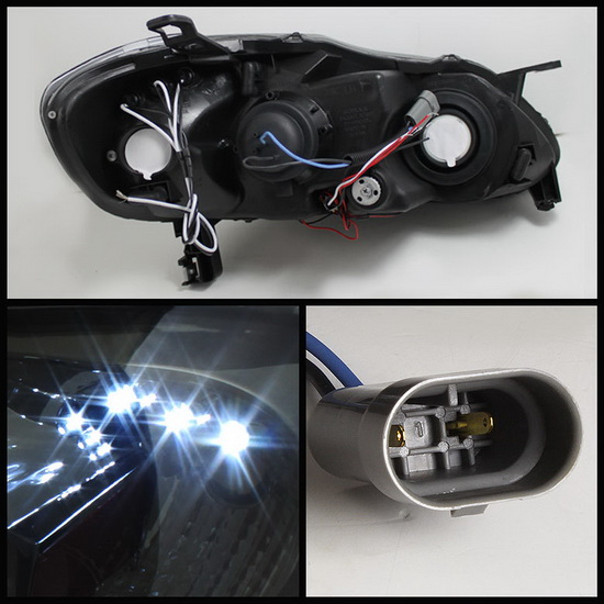 2003-2008 Toyota Corolla Smoke Housing LED Halo Angel Eyes LED Projector Headlights