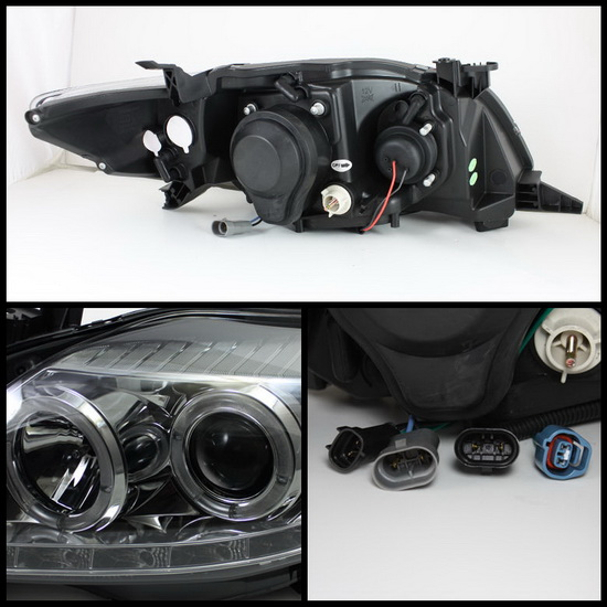 2009-2010 Toyota Corolla Smoke Housing LED Halo Angel Eyes Projector Headlights with LED DRL