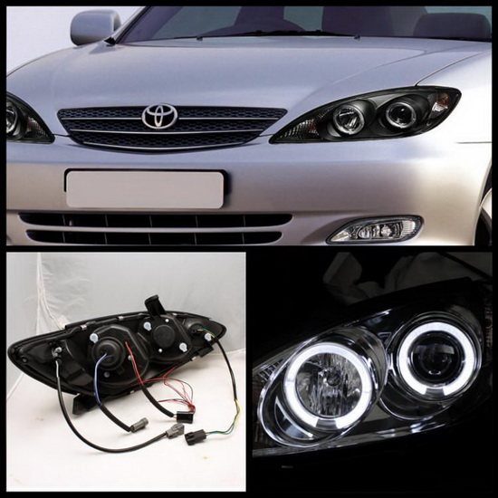 2002 2006 toyota camry black housing led halo angel eyes led projector headlights. Black Bedroom Furniture Sets. Home Design Ideas