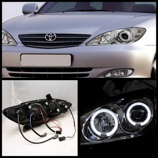 2002 06 toyota camry chrome led halo led projector headlights. Black Bedroom Furniture Sets. Home Design Ideas