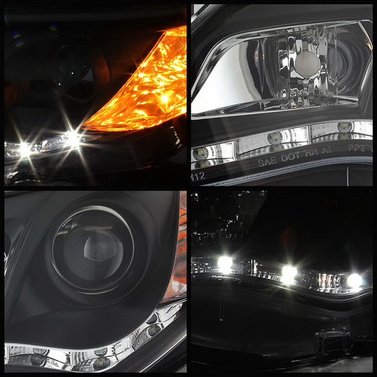 2012-2013 Toyota Camry Black Housing Projector Headlights with LED DRL