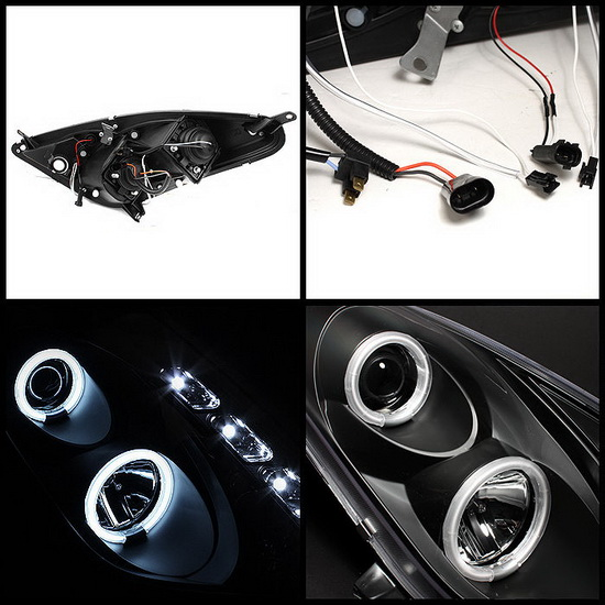 2000-2005 Toyota Celica Black Housing CCFL Halo Angel Eyes Projector Headlights with LED DRL