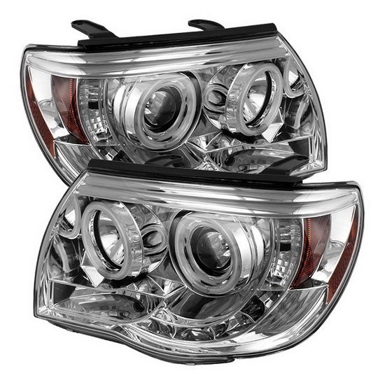 2005-2011 Toyota Tacoma Chrome Housing CCFL Halo Angel Eyes LED Projector Headlights