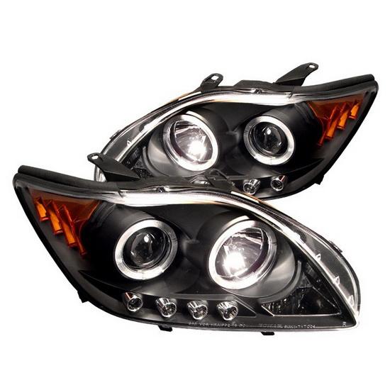 2005-2007 Scion TC Black Housing LED Halo Angel Eyes LED Projector Headlights