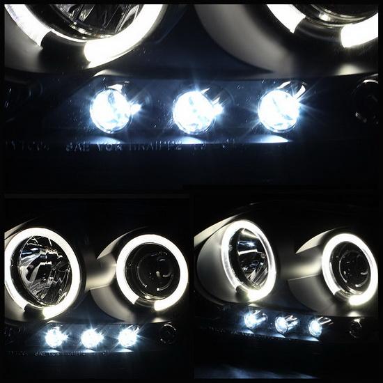 2008-2010 Scion TC Black Housing LED Halo Angel Eyes LED Projector Headlights