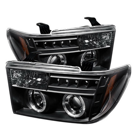 2007-2013 Toyota Tundra Sequoia Black Housing LED Halo Angel Eyes LED Projector Headlights